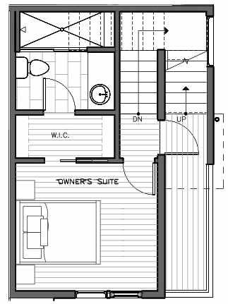 Third Floor Plan of 323 Malden Ave E, One of the Mika Townhomes in Capitol Hill by Isola Homes