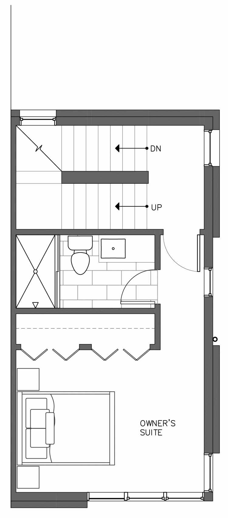 Third Floor Plan of 3236A 14th Ave W, One of the Harloe Townhomes in North Queen Anne by Isola Homes