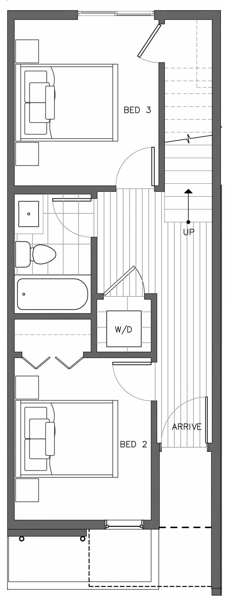 First Floor Plan of 3236B 14th Ave W, One of the Harloe Townhomes in North Queen Anne by Isola Homes