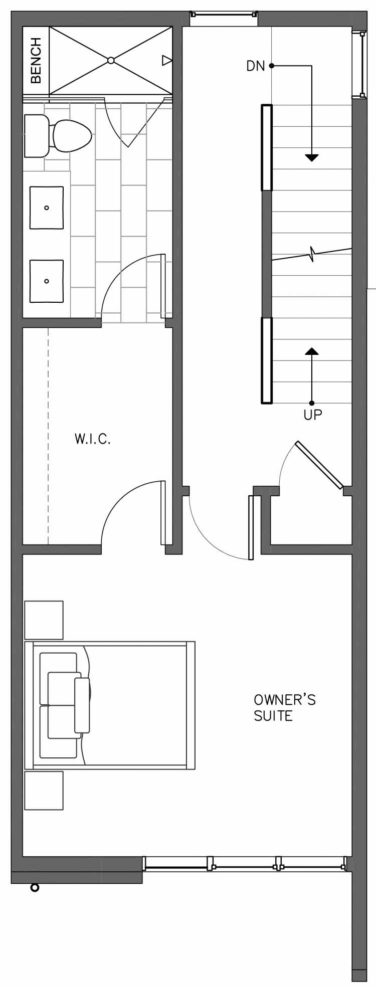 Third Floor Plan of 3236B 14th Ave W, One of the Harloe Townhomes in North Queen Anne by Isola Homes