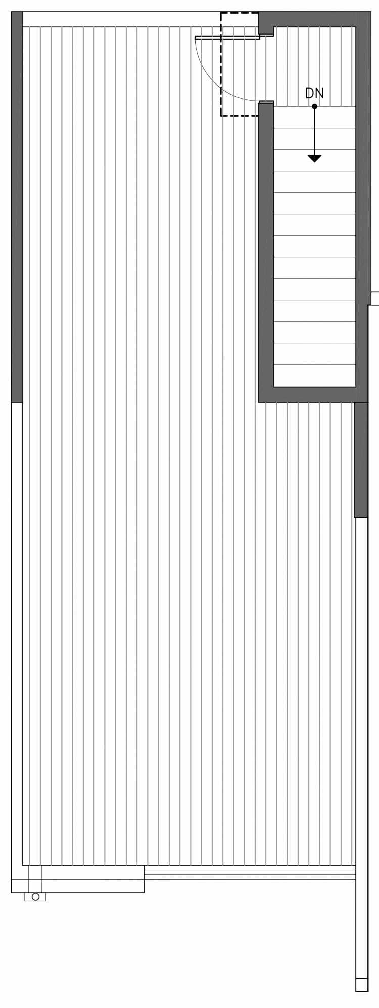 Roof Deck Floor Plan of 3236B 14th Ave W, One of the Harloe Townhomes in North Queen Anne by Isola Homes
