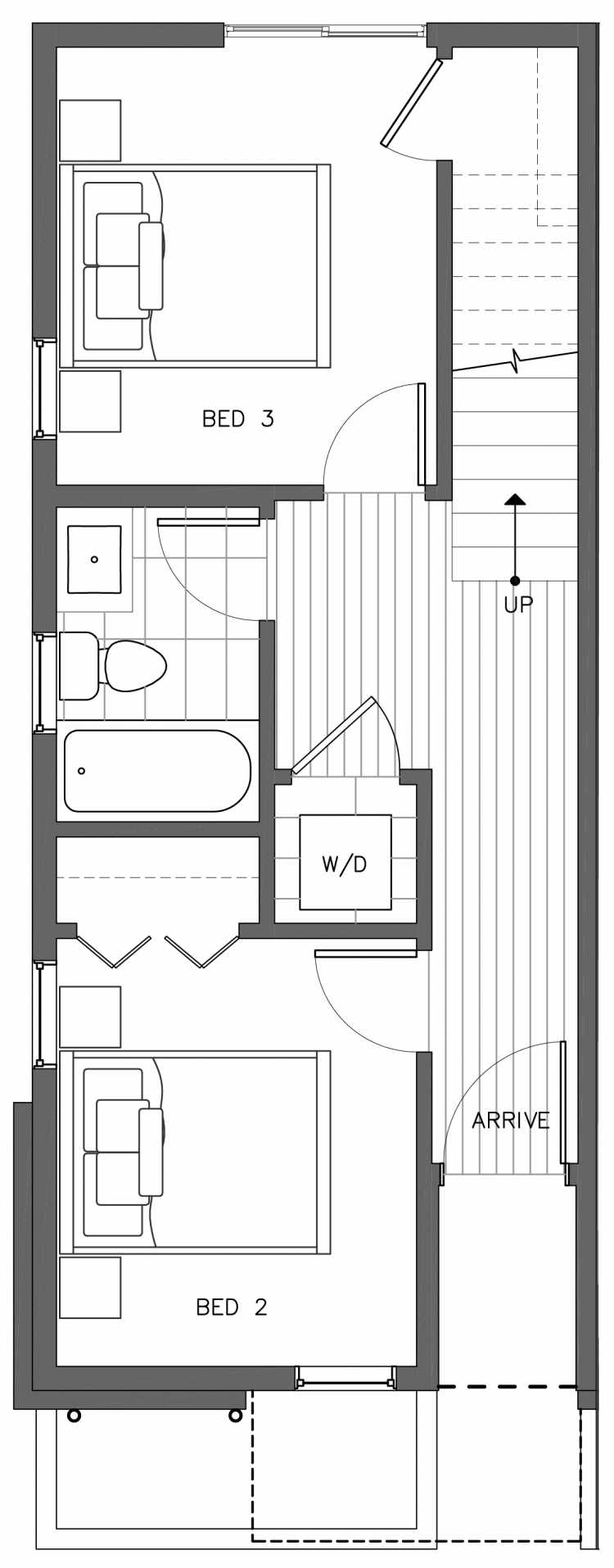 First Floor Plan of 3236C 14th Ave W, One of the Harloe Townhomes in North Queen Anne by Isola Homes