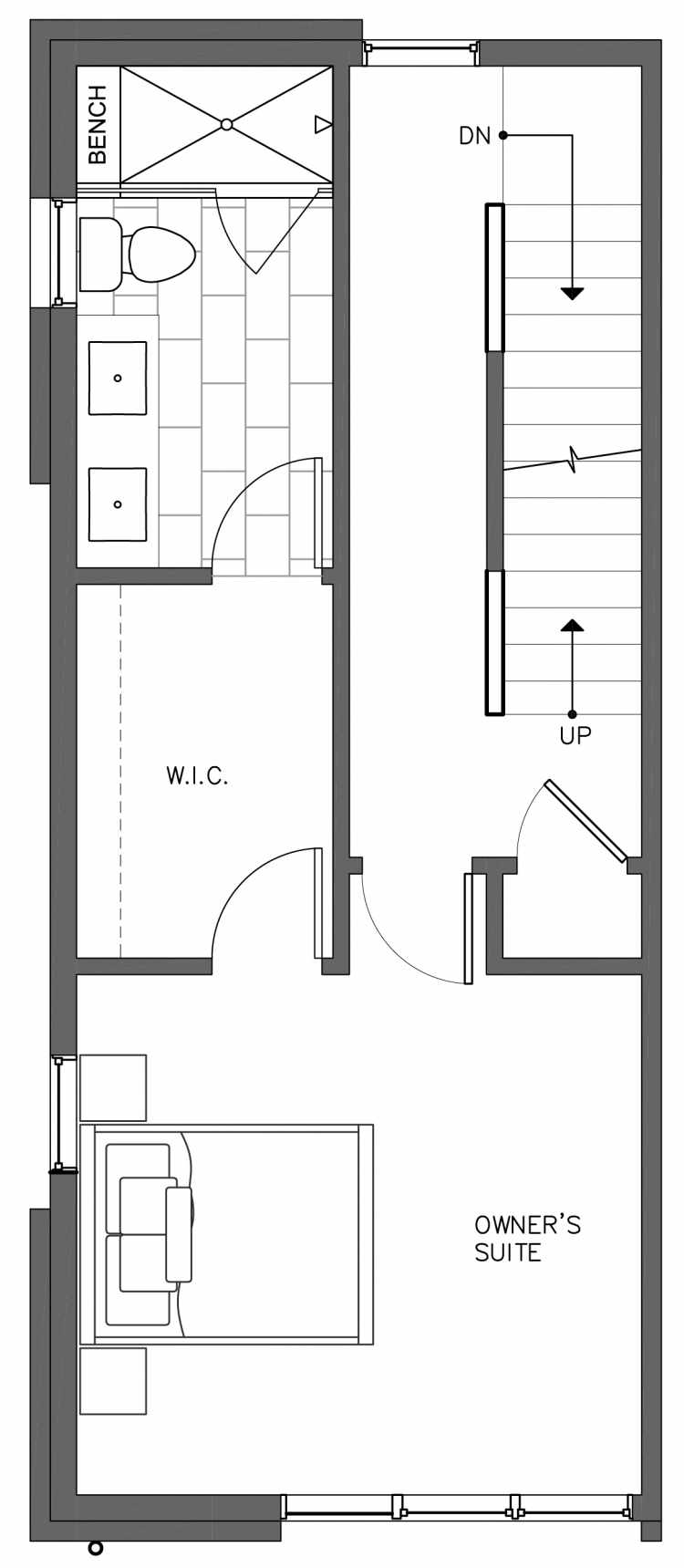 Third Floor Plan of 3236C 14th Ave W, One of the Harloe Townhomes in North Queen Anne by Isola Homes