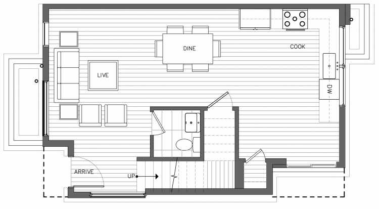 First Floor Plan of 3238A 14th Ave W, One of the Harloe Townhomes in North Queen Anne by Isola Homes