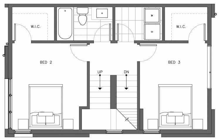 Second Floor Plan of 3238A 14th Ave W, One of the Harloe Townhomes in North Queen Anne by Isola Homes