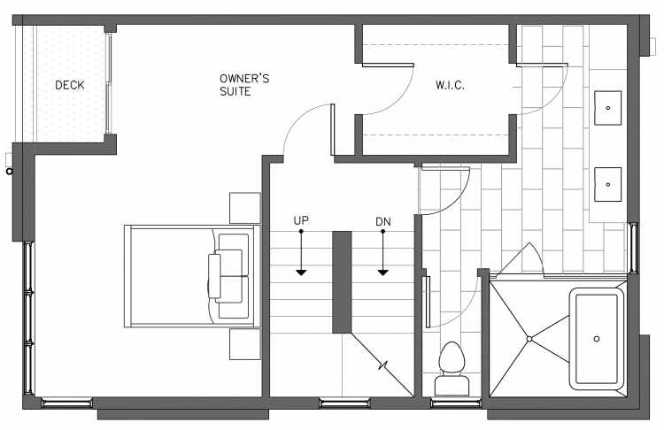Third Floor Plan of 3238A 14th Ave W, One of the Harloe Townhomes in North Queen Anne by Isola Homes