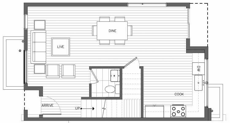First Floor Plan of 3238B 14th Ave W, One of the Harloe Townhomes in North Queen Anne by Isola Homes