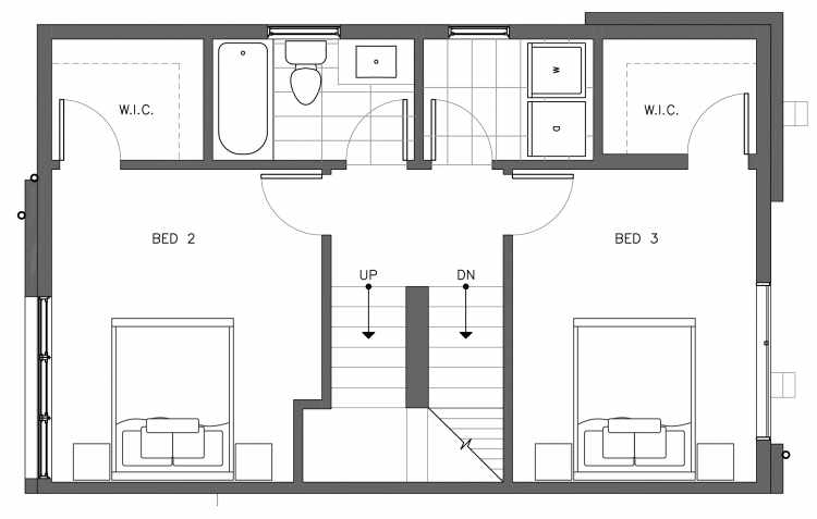 Second Floor Plan of 3238B 14th Ave W, One of the Harloe Townhomes in North Queen Anne by Isola Homes