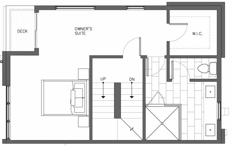 Third Floor Plan of 3238B 14th Ave W, One of the Harloe Townhomes in North Queen Anne by Isola Homes