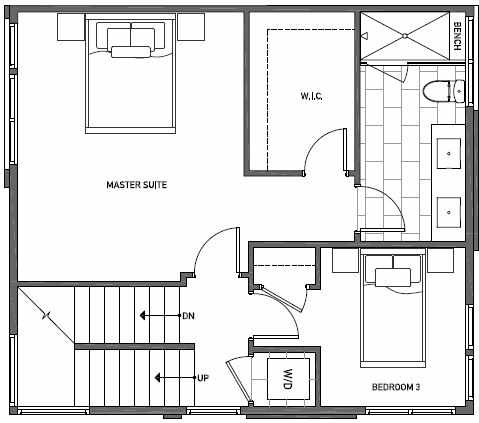 Third Floor Plan of 3525 Wallingford Ave N in Lucca Townhomes by Isola Homes