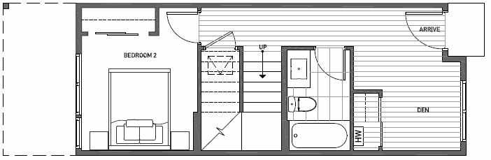 First Floor Plan of 3533 Wallingford Ave N in Lucca Townhomes by Isola Homes