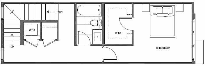 Second Floor Plan of 3535 Wallingford Ave N in Lucca Townhomes by Isola Homes