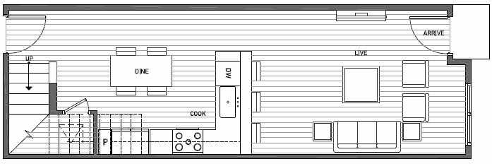 First Floor Plan of 3537 Wallingford Ave N in Lucca Townhomes by Isola Homes