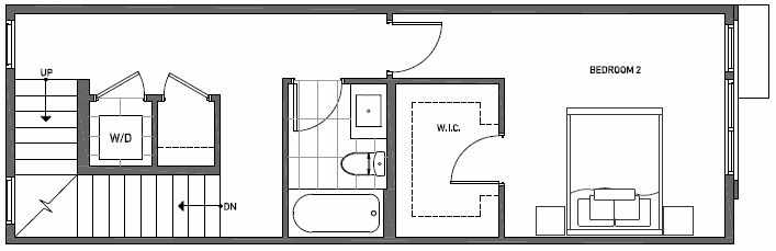 Second Floor Plan of 3537 Wallingford Ave N in Lucca Townhomes by Isola Homes