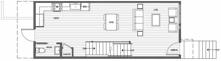 First Floor Plan of 3539 Wallingford Ave N in Lucca Townhomes by Isola Homes