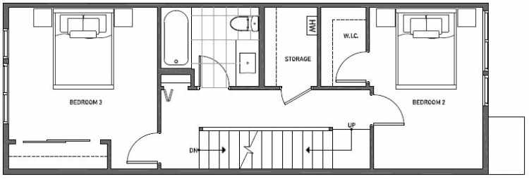 Second Floor Plan of 3539 Wallingford Ave N in Lucca Townhomes by Isola Homes