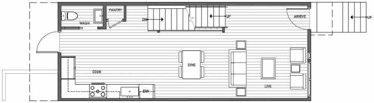 First Floor Plan of 3541 Wallingford Ave N in Lucca Townhomes by Isola Homes