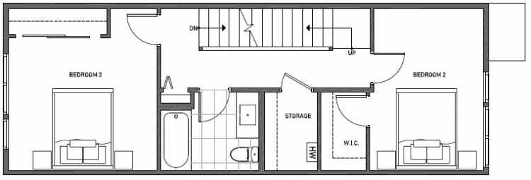 Second Floor Plan of 3541 Wallingford Ave N in Lucca Townhomes by Isola Homes
