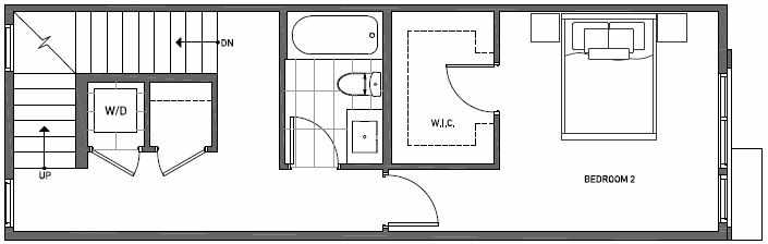 Second Floor Plan of 3543 Wallingford Ave N in Lucca Townhomes by Isola Homes