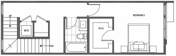 Second Floor Plan of 3545 Wallingford Ave N in Lucca Townhomes by Isola Homes