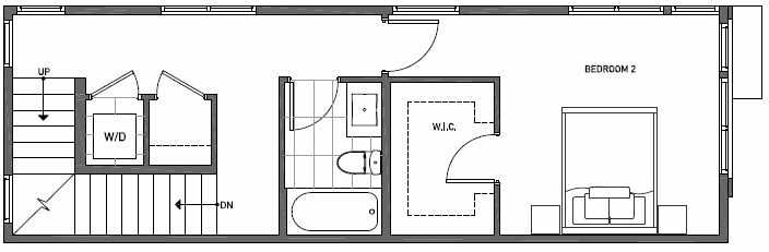Second Floor Plan of 3553 Wallingford Ave N in Lucca Townhomes by Isola Homes