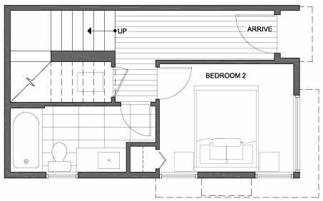 First Floor Plan of 3801 23rd Ave W, of the Walden Townhomes, by Isola Homes