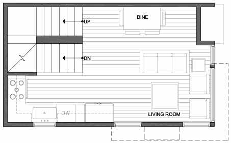 Second Floor Plan of 3801 23rd Ave W, of the Walden Townhomes, by Isola Homes