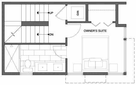 Third Floor Plan of 3801 23rd Ave W, of the Walden Townhomes, by Isola Homes