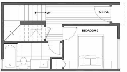 First Floor Plan of 3803 23rd Ave W, of the Walden Townhomes, by Isola Homes
