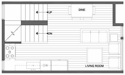 Second Floor Plan of 3803 23rd Ave W, of the Walden Townhomes, by Isola Homes