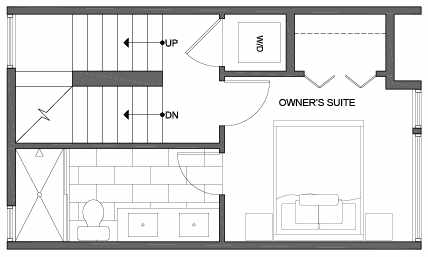 Third Floor Plan of 3803 23rd Ave W, of the Walden Townhomes, by Isola Homes