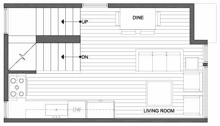 Second Floor Plan of 3805 23rd Ave W, of the Walden Townhomes, by Isola Homes