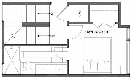 Third Floor Plan of 3805 23rd Ave W, of the Walden Townhomes, by Isola Homes