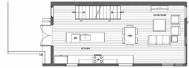 Second Floor Plan of 408A at Oncore Townhomes in Capitol Hill