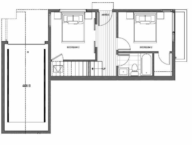 First Floor Plan of 408B at Oncore Townhomes in Capitol Hill