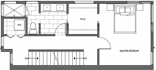 Third Floor Plan of 408B at Oncore Townhomes in Capitol Hill