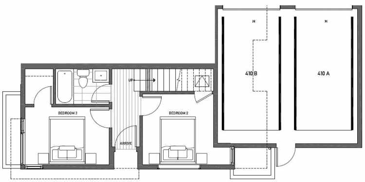 First Floor Plan of 410A at Oncore Townhomes in Capitol Hill