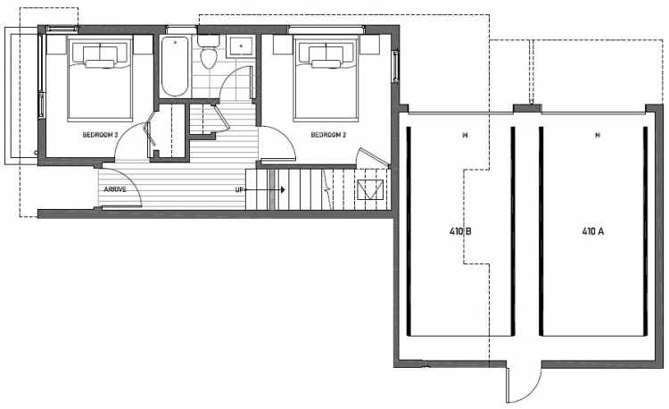 First Floor Plan of 410B at Oncore Townhomes in Capitol Hill