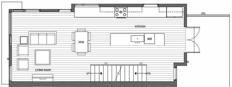 Second Floor Plan of 410B at Oncore Townhomes in Capitol Hill