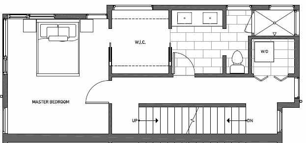 Third Floor Plan of 410B at Oncore Townhomes in Capitol Hill