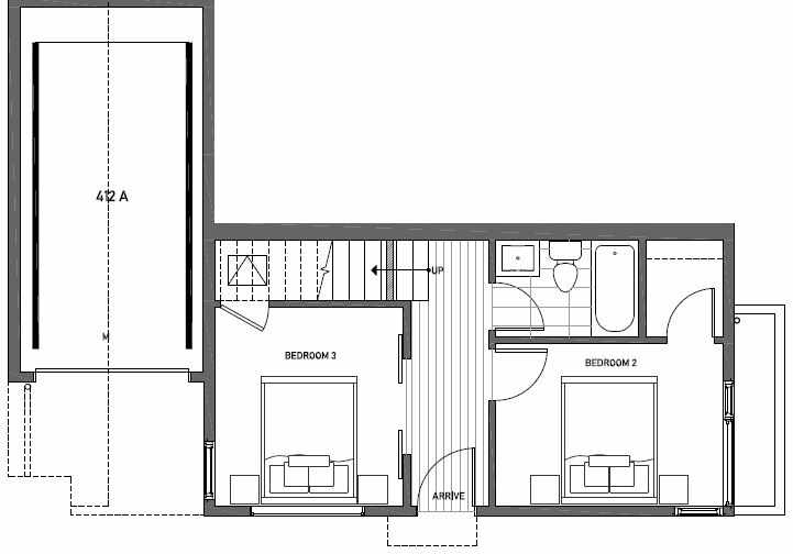 First Floor Plan of 412A at Oncore Townhomes in Capitol Hill