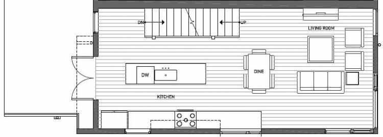 Second Floor Plan of 412A at Oncore Townhomes in Capitol Hill