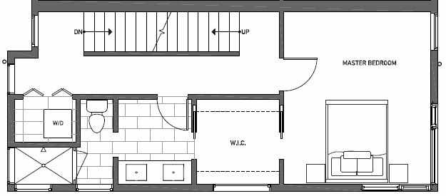 Third Floor Plan of 412A at Oncore Townhomes in Capitol Hill