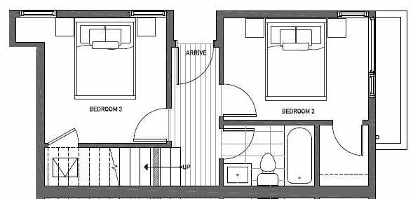 First Floor Plan of 412B at Oncore Townhomes in Capitol Hill