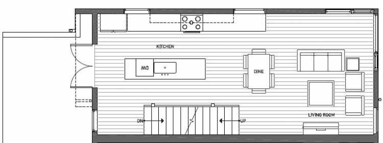 Second Floor Plan of 412B at Oncore Townhomes in Capitol Hill