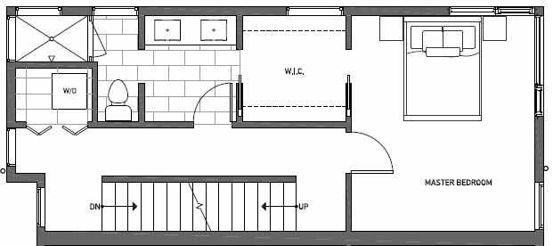 Third Floor Plan of 412B at Oncore Townhomes in Capitol Hill