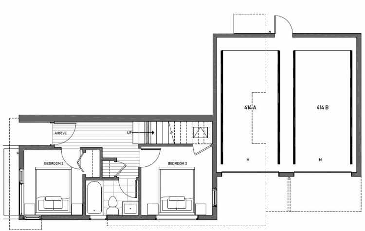 First Floor Plan of 414A at Oncore Townhomes in Capitol Hill