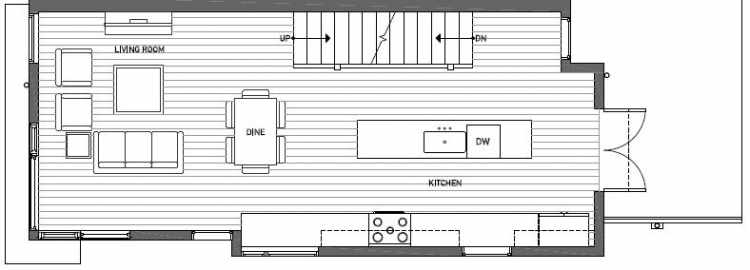 Second Floor Plan of 414A at Oncore Townhomes in Capitol Hill