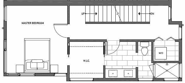 Third Floor Plan of 414A at Oncore Townhomes in Capitol Hill