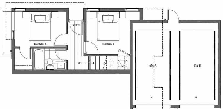 First Floor Plan of 414B at Oncore Townhomes in Capitol Hill